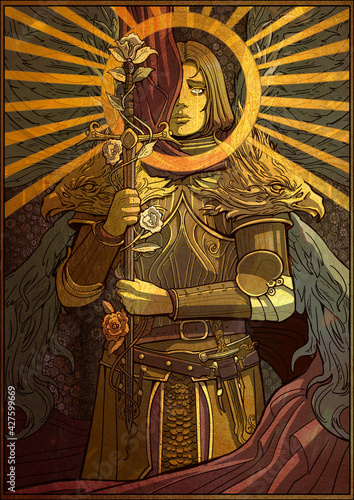A beautiful Golden squire girl in plate armor with angel wings prays with a sharp sword in her hands that is entangled with roses Fototapet