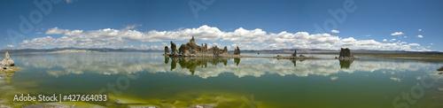 Panoramic view over tufa formation in Mono lake, California Fototapeta