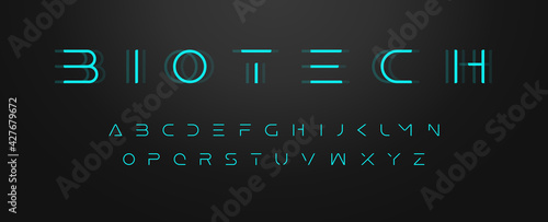 Vászonkép Futuristic letters, ultra slim font, contemporary type for gui and hud, thin sleek typography for innovate and future technology digital display