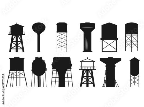 Wallpaper Mural Water tower SVG, Water tower Silhouette, Water Tower Cut File, Water tower cutti