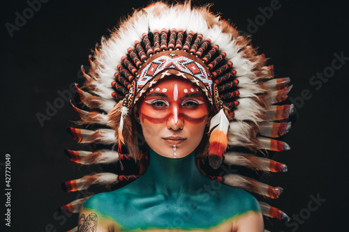 Obraz na plátně Woman painted and dressed in native american style in studio