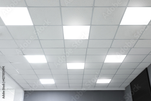 Canvas Print White ceiling with lighting in office room