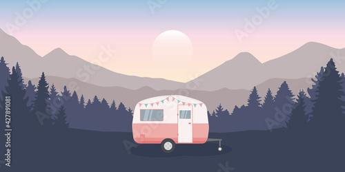 Fototapeta wanderlust camping adventure in the wilderness with camper
