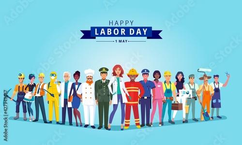Fotografie, Obraz Happy labour day celebration with group professionals.