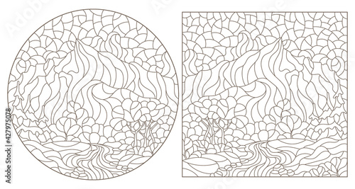 Fotografie, Obraz Set of contour illustrations in the style of stained glass with mountain landsca