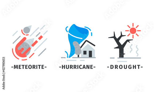 Obraz na plátně Natural Disaster Icons with Meteorite and Hurricane Vector Set