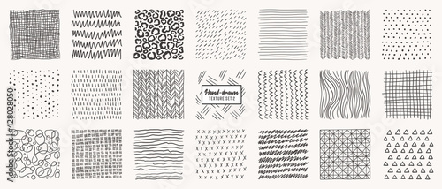 Set of hand drawn patterns isolated. Vector textures made with ink, pencil, brush. Geometric doodle shapes of spots, dots, circles, strokes, stripes, lines. Template for social media, posters, prints.
