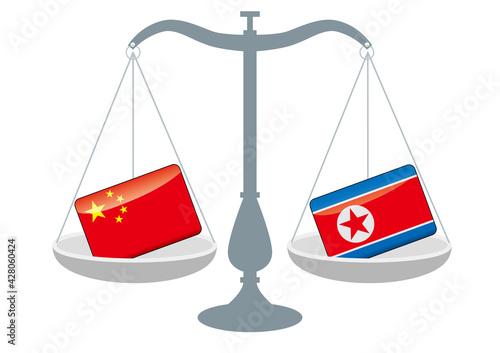 Obraz na plátně 天秤と国旗 中国と北朝鮮の国旗 国家対立 国家紛争 国際司法 貿易のイメージイラスト