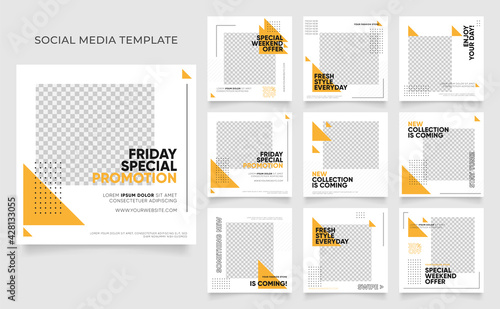 social media template banner blog fashion sale promotion. fully editable instagram and facebook square post frame puzzle organic sale poster. fresh yellow element shape vector background