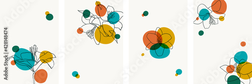 Fotomural Set of creative minimalist hand draw illustrations floral outline lily bright circle simple shape vintage color