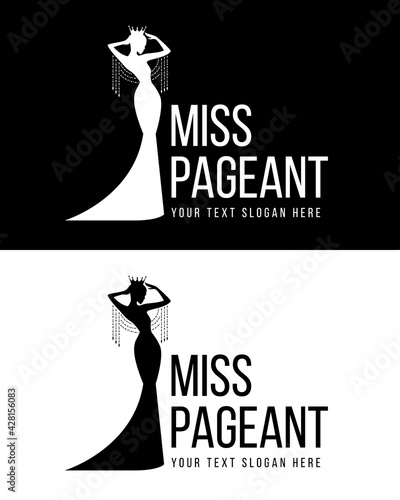miss pageant logo with white and black Beauty queen wear Crown and Wear a crysta Fototapet