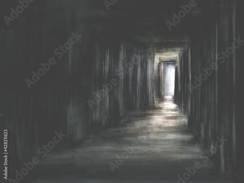 Obraz na płótnie Illustration of creepy dark scary door