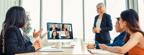 Leinwand Poster Video call group business people meeting on virtual workplace or remote office