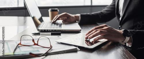 Billede på lærred Man hands typing on computer keyboard closeup, banner, businessman or manager us