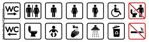Fotografia Toilet icons set, WC signs, toilet signs, bathroom symbol, vector illustration