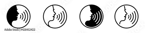 Fotografiet woman voice command icon with sound waves, vector illustration
