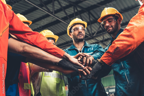 Fotografie, Obraz Skillful worker stand together showing teamwork in the factory