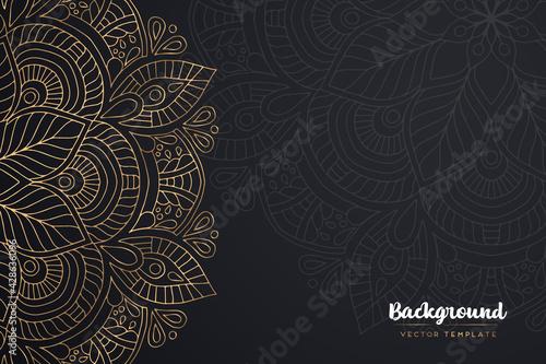 Cuadros en Lienzo Vector islamic gold background with mandala