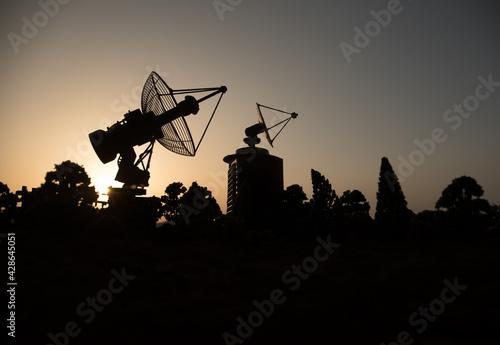 Canvastavla Space radar antenna on sunset