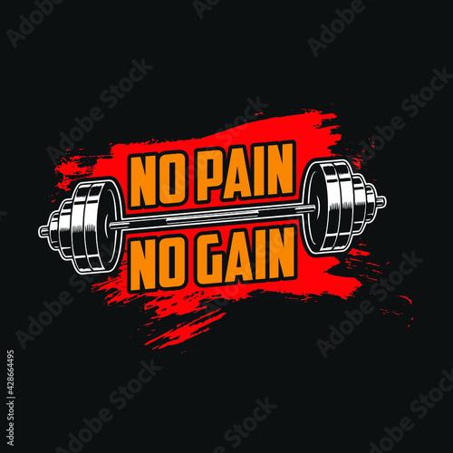 Obraz na płótnie Gym quote - No pain no gain - vector t shirt design