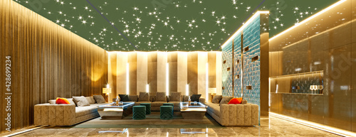 Foto 3d render of home cinema entertainment room, club house