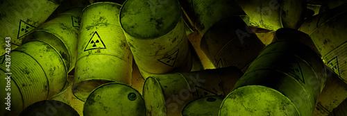 Obraz na płótnie radioactive waste in barrels, pile of nuclear trash, background banner