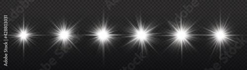 Fotografia Star burst with light, white sun rays.