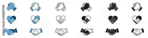 Fotografie, Obraz handshake icon set, Soul brother handshake icon, Heart handshake icon in differe