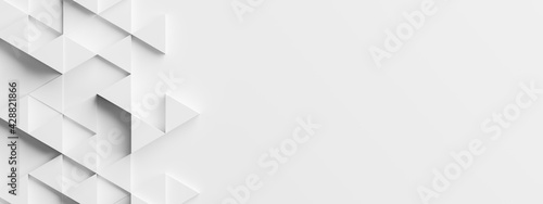 Random shifted white triangle background wallpaper banner pattern with copy space