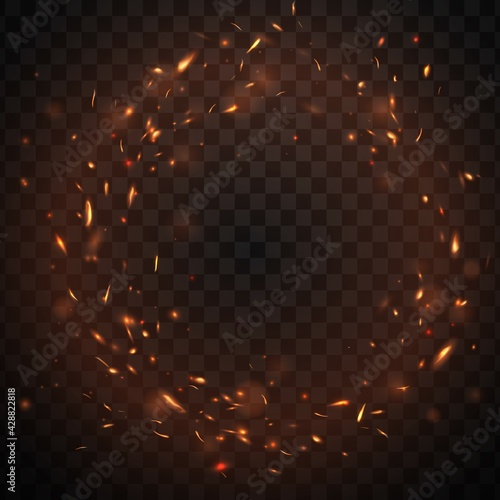 Tablou Canvas Round fire sparks frame with burning bonfire embers, vector glowing flame particles