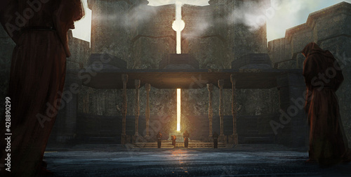 Valokuvatapetti Digital fantasy painting of a group of worshipers at a sun temple conducting a r