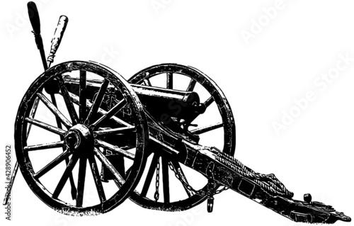 Fotografering Civil war era cannon realistic illustration in black on white background