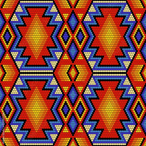 Fotografie, Obraz Tribal geometric ornament with Mexican Huichol art style