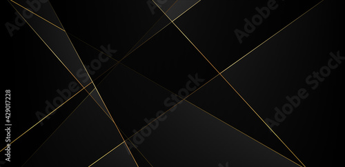 Abstract black background with gold lines