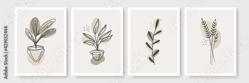 Abstract modern botanical boho poster collection. Organic bohemian wall art poster for minimal luxury interior with watercolor abstract shapes. Neutral paster color, foliage drawing. Acrylic vector