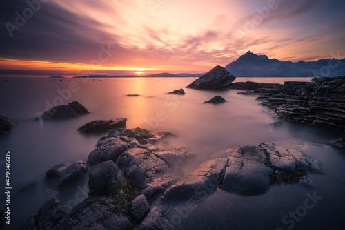 Fotografia Sunset at Elgol, Isle of Skye, Scotland, United Kingdom