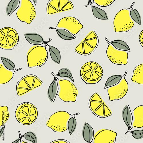 Canvastavla Seamless one line drawing lemons pattern