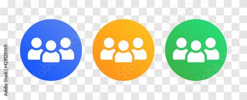 Obraz na plátně Group of people vector icon on round button.