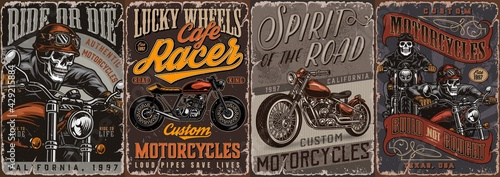 Fotografía Motorcycle vintage colorful posters