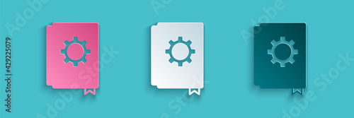 Photo Paper cut User manual icon isolated on blue background
