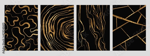 Fototapeta premium Golden glitter and black abstract marble stone, wood design, natural texture, waves, curls, geodes. Luxury ink, liquid stains, abstract patterns for covers, branding template.