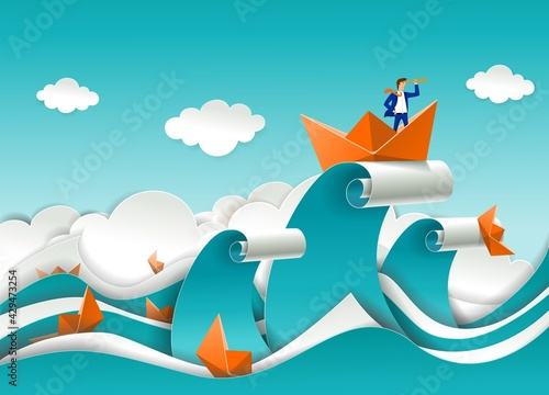 Businessman in boat on the top of ocean wave, vector paper cut illustration. Business strategy direction vision success.