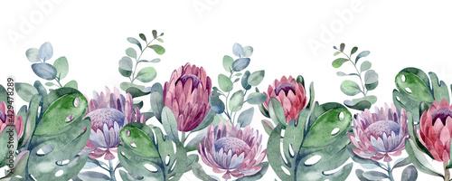 Stampa su Tela watercolor seamless border beautiful plants and flowers