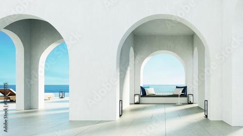 Fotografija Luxury beach and Pool villa Santorini island style - 3D rendering
