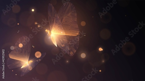 Obraz na plátne Two golden glowing butterflies with circuit wings on a dark background