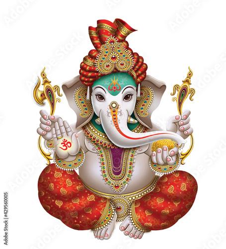 Canvas Print High-Resolution Indian Gods Lord Ganesha Digital Painting