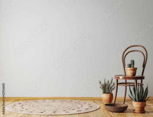 Fotografia, Obraz Farmhouse living room interior with wooden furniture, wall mockup, 3d render