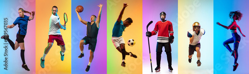 Fotografija Collage of different professional sportsmen, fit people in action and motion isolated on multicolored neon background