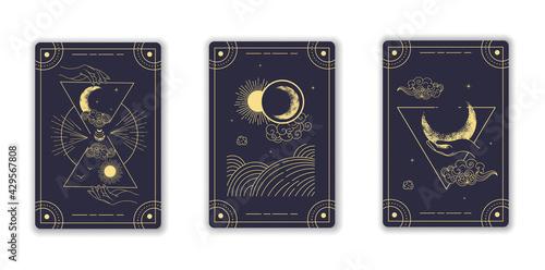 Canvas Print Beautiful blue magical tarot cards
