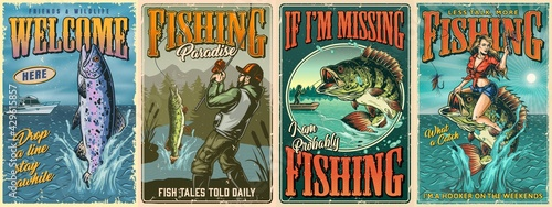 Fotografia Vintage fishing colorful posters